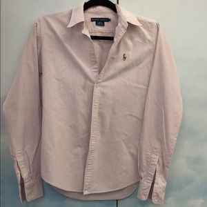 Slim fit button down pink white Polo shirt